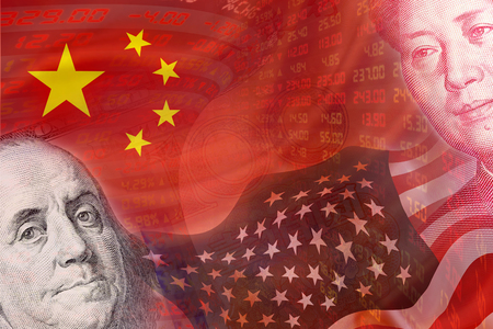 stock quotations: Flags of USA and China and faces of Benjamin Franklin and Mao Zedong with displays of daily stock market prices and quotations. The two biggest economic countries in the world. Financial Concept.