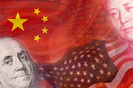Vlaggen van de VS en China en gezichten van Benjamin Franklin en Mao Zedong met displays van de dagelijkse beurskoersen en offertes. De twee grootste economische landen in de wereld. Financial Concept. Stockfoto