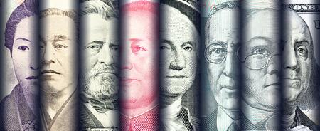 세계에서 가장 지배적 인 국가의 지폐, 통화 즉 일본 엔, 미국 달러, 중국 위안, 호주 달러의 유명한 지도자의 초상화  이미지  얼굴. 금융 개념입니다. 스톡 콘텐츠