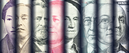 Portraits / images / faces of famous leader on banknotes, currencies of the most dominant countries in the world i.e. Japanese yen, US dollar, Chinese yuan, Australian dollar. Financial concept. Standard-Bild