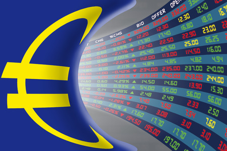 stock quotations: Flag of European Union with a large display of daily stock market price and quotations during normal economic period. The fate and mystery of EU stock market, tunnelcorridor concept.