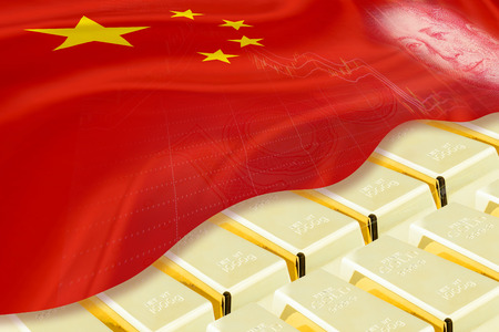 stored: National and foreign currency  treasury  gold reserved concept : Stack of gold bars  ingots covered with flag of China and image of Mao Zedong, stored in the vault  storage room . 3D illustration.
