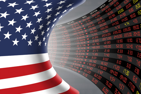 stock quotations: Flag of the United States of America with a large display of daily stock market price and quotations during economic recession period. The fate and mystery of US stock market, tunnelcorridor concept. Stock Photo