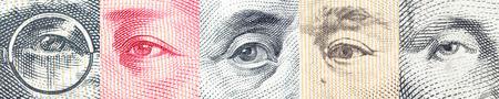 Portraits  images  de ogen van de beroemde leider op bankbiljetten, valuta's van de meest dominante landen in de wereld, dwz Japanse yen, US dollar, de Chinese yuan, de Australische dollar. Financieel concept.