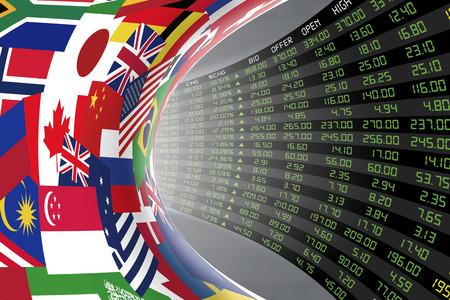 경제 호황기 동안 매일 주식 시장 가격 및 견적의 큰 디스플레이와 세계에서 주요 국가의 플래그. 세계 주식 시장의 운명과 신비, 터널  복도 개념