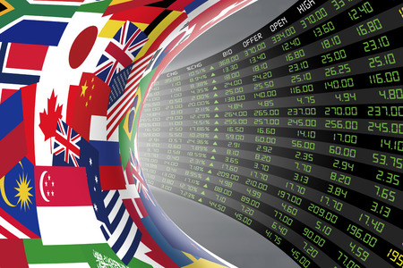 Flags of main countries in the world with a large display of daily stock market price and quotations during economic booming period. The fate and mystery of world stock market, tunnel/corridor concept Standard-Bild