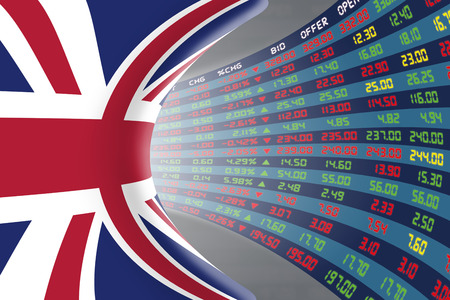 stock quotations: Flag of the United Kingdom with a large display of daily stock market price and quotations during normal economic period. The fate and mystery of the UK stock market, tunnelcorridor concept.