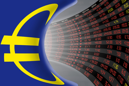stock quotations: Flag of European Union with a large display of daily stock market price and quotations during economic recession period. The fate and mystery of EU stock market, tunnelcorridor concept.