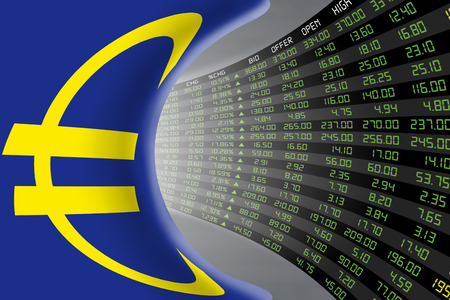 stock quotations: Flag of European Union with a large display of daily stock market price and quotations during economic booming period. The fate and mystery of EU stock market, tunnelcorridor concept. Stock Photo