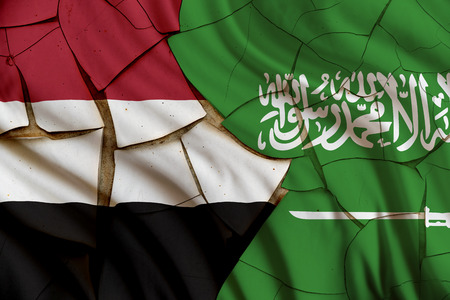 outcome: Flag of Saudi Arabia and Yemen. Riyadh intervention to influence the outcome of Yemeni civil war, carrying out airstrikes, heralding a military intervention codenamed Operation Decisive Storm. Stock Photo