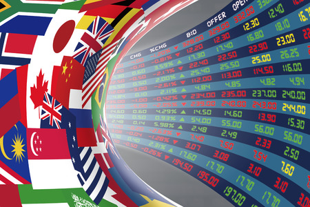 dow: Flags of main countries in the world with a display of daily stock market price and quotations during normal economic period. The fate and mystery of world stock market, tunnelcorridor concept. Stock Photo