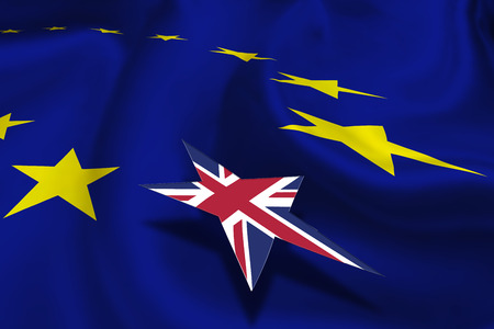 threatens: Brexit : Flag of EU and a circle of twelve gold (yellow) stars with small flag of UK floating over it. An inout referendum and renegotiation of UK membership in EU which was pledged by Britains PM.