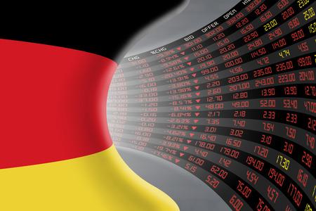 Nationale vlag van Duitsland met een groot display van de dagelijkse beurskoers en noteringen tijdens economische recessie periode. Het lot en het mysterie van de Duitse beurs, tunnel  gang concept.