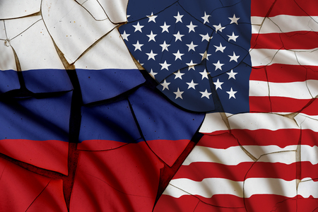 politic: Flag of the USA and Russia on a cracked paint wall. A symbol of various conflict between these 2 nations i.e. economic, military, space, diplomatic, trade, armed, politic, investment, naval, areal.