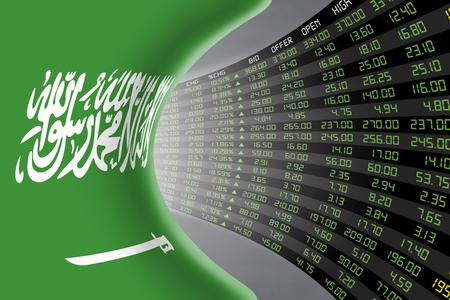 bolsa de valores: bandera nacional de Arabia Saudita con una gran pantalla de precio y citas durante ped auge económico del mercado de valores todos los días. El destino y el misterio del mercado de valores Riad, túnel  concepto del corredor.