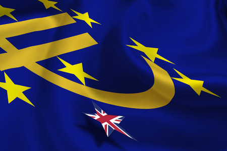negative area: Brexit : Silky flag of Euro currency symbol with 12 yellow (gold) stars with a small star flag of UK floats over it. A symbol of uncertainty in the Eurozone during UKs referendum. Political concept.