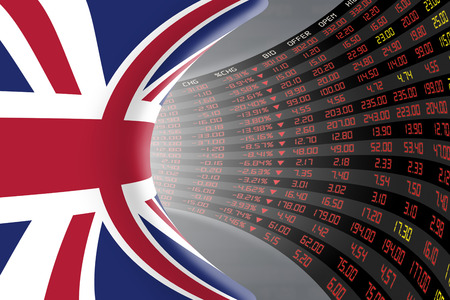 Flag of the United Kingdom with a large display of daily stock market price and quotations during economic recession period. The fate and mystery of the UK stock market, tunnel/corridor concept.