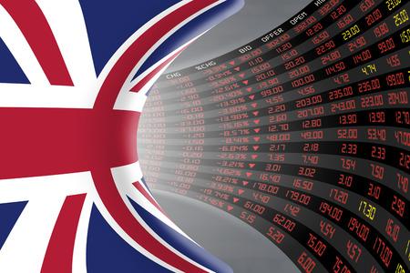 Vlag van het Verenigd Koninkrijk met een groot display van de dagelijkse beurskoers en noteringen tijdens economische recessie periode. Het lot en het mysterie van de Britse beurs, tunnel  gang concept. Stockfoto