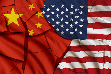 territorial: Flag of USA and China. A symbol of many conflict between Washington and Beijing i.e. military, diplomatic, trade, politic, naval, armed, investment, currency, economic, south china sea, territorial.
