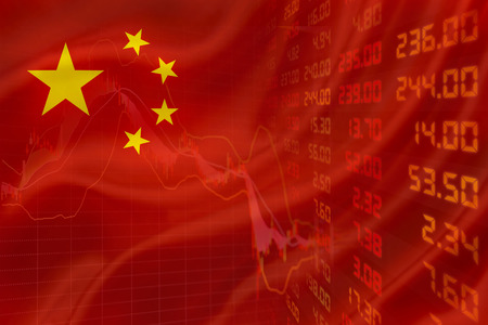 Flag of China with a simple downtrend chart of financial instruments and a display of daily stock market price and quotations. Stock Photo