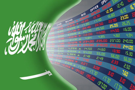 stock quotations: National flag of Saudi Arabia with a large display of daily stock market price and quotations during normal economic period. The fate and mystery of Riyadh stock market, tunnelcorridor concept.
