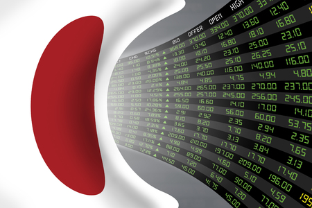 Flag of Japan with a large display of daily stock market price and quotations during economic booming period. The fate and mystery of Japan stock market, tunnelcorridor concept.