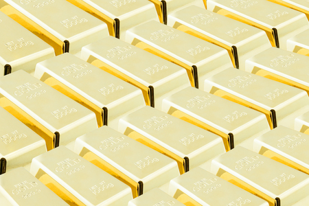 Stack of shiny gold bars  ingots in the central vault  storage room. National currency  treasury  gold reserved concept.