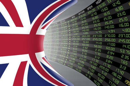 initial public offerings: Flag of the United Kingdom with a large display of daily stock market price and quotations during economic booming period. The fate and mystery of the UK stock market, tunnelcorridor concept. Stock Photo