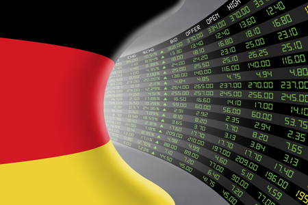 stock quotations: National flag of Germany with a large display of daily stock market price and quotations during economic booming period. The fate and mystery of German stock market, tunnelcorridor concept. Stock Photo