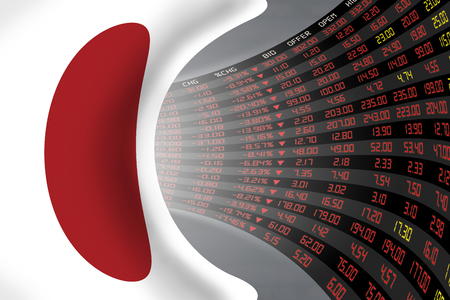 Flag of Japan with a large display of daily stock market price and quotations during economic stagnant period. The fate and mystery of Japan stock market, tunnelcorridor concept.
