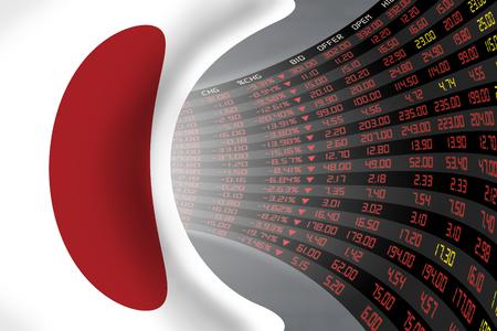 Vlag van Japan met een groot display van de dagelijkse beurskoers en noteringen in tijden van economische stagnatie ped. Het lot en het mysterie van Japan beurs, tunnel  gang concept. Stockfoto