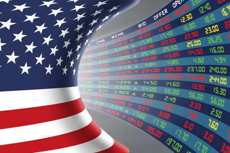 stock quotations: Flag of the United States of America with a large display of daily stock market price and quotations during normal economic period. The fate and mystery of US stock market, tunnelcorridor concept. Stock Photo
