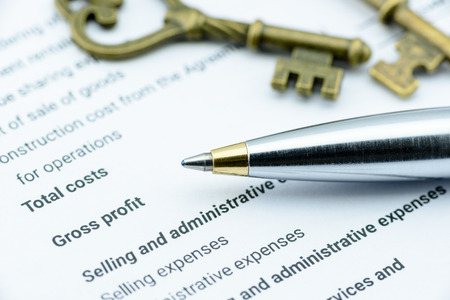 최고 재무 책임자 (CEO)에게 제출하기 전에 재정 보조 부사장 (AVP)을 검토하기를 기다리는 설립 법인의 소득 명세서에 파란색 볼펜. 금융 개념입니다. 스톡 콘텐츠
