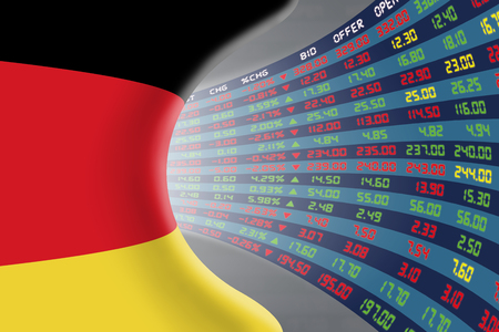 stock quotations: National flag of Germany with a large display of daily stock market price and quotations during normal economic period. The fate and mystery of German stock market, tunnelcorridor concept. Stock Photo