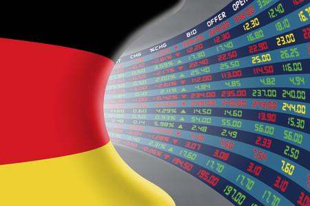 Nationale vlag van Duitsland met een groot display van de dagelijkse beurskoers en noteringen tijdens de normale economische ped. Het lot en het mysterie van de Duitse beurs, tunnel  gang concept.