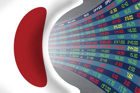 정상적인 경제 기간 동안 매일 주식 시장 가격 및 견적의 큰 디스플레이와 일본의 국기. 운명과 일본 주식 시장의 신비, 터널  복도 개념.