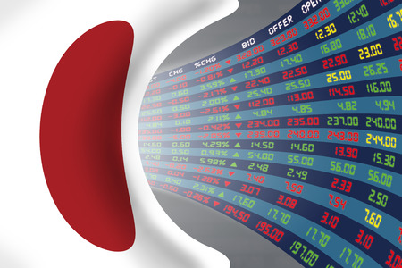 Flag of Japan with a large display of daily stock market price and quotations during normal economic period. The fate and mystery of Japan stock market, tunnel/corridor concept. Standard-Bild