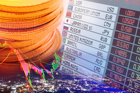 Close up view of coins, digital screen / display panel of foreign currency exchange rates and flags with names of each countries, with chart of financial instruments. 3D illustration Financial concept