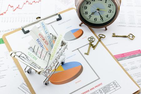 Diverse types financiële en beleggingsproducten in een winkelwagentje ie REIT's, obligaties, aandelen, grondstoffen. Belangrijke succesfactoren voor portfolio management, asset allocatie met risicospreiding concept.