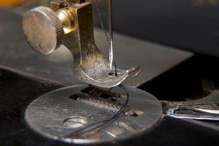 Stitching machine detail close-up photo