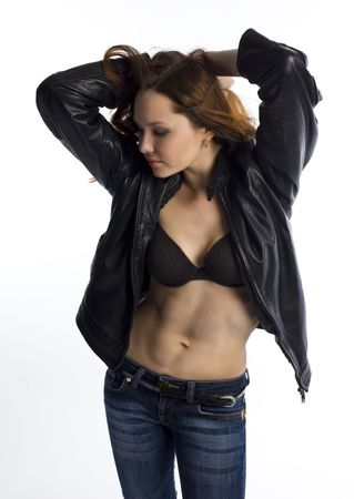 Girl in leather jacket photo