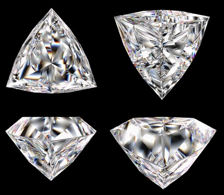 Diamond three star isolated different views computer graphics photo
