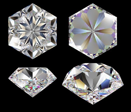 Diamond six star isolated different views computer graphics photo