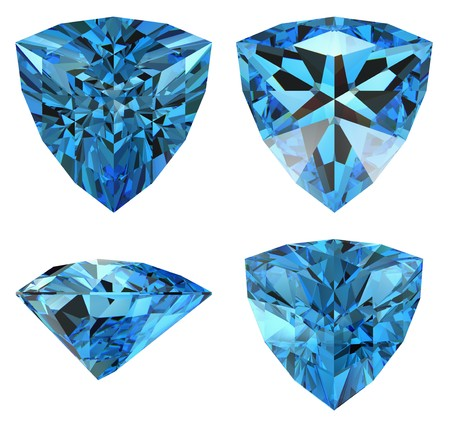 blue triangle diamond cut shape isolated photo