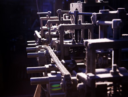 Focus on detail of complex machine silhouette in dirt and dust Stock Photo - 7630994