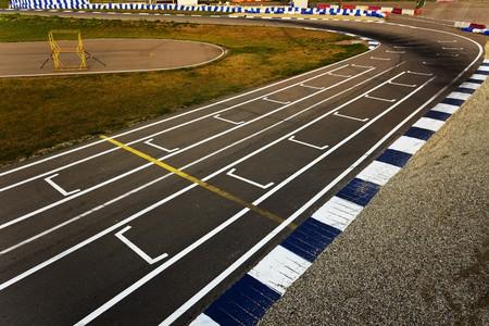racecar: sport track turn on sunset