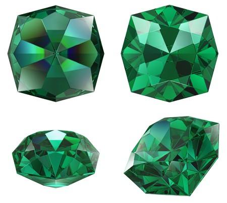 piedras preciosas: color verde esmeralda gema aislado  Foto de archivo