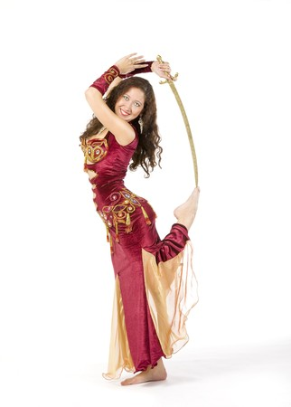 young womand in indian dress dance with sword Stock Photo - 7953042