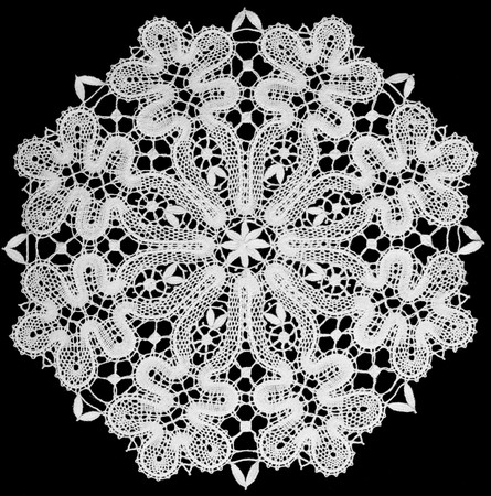 white doily with lace top view
