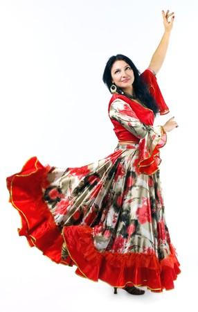 bailarina de flamenco: Mujer en traje tradicional - baile gitano Foto de archivo
